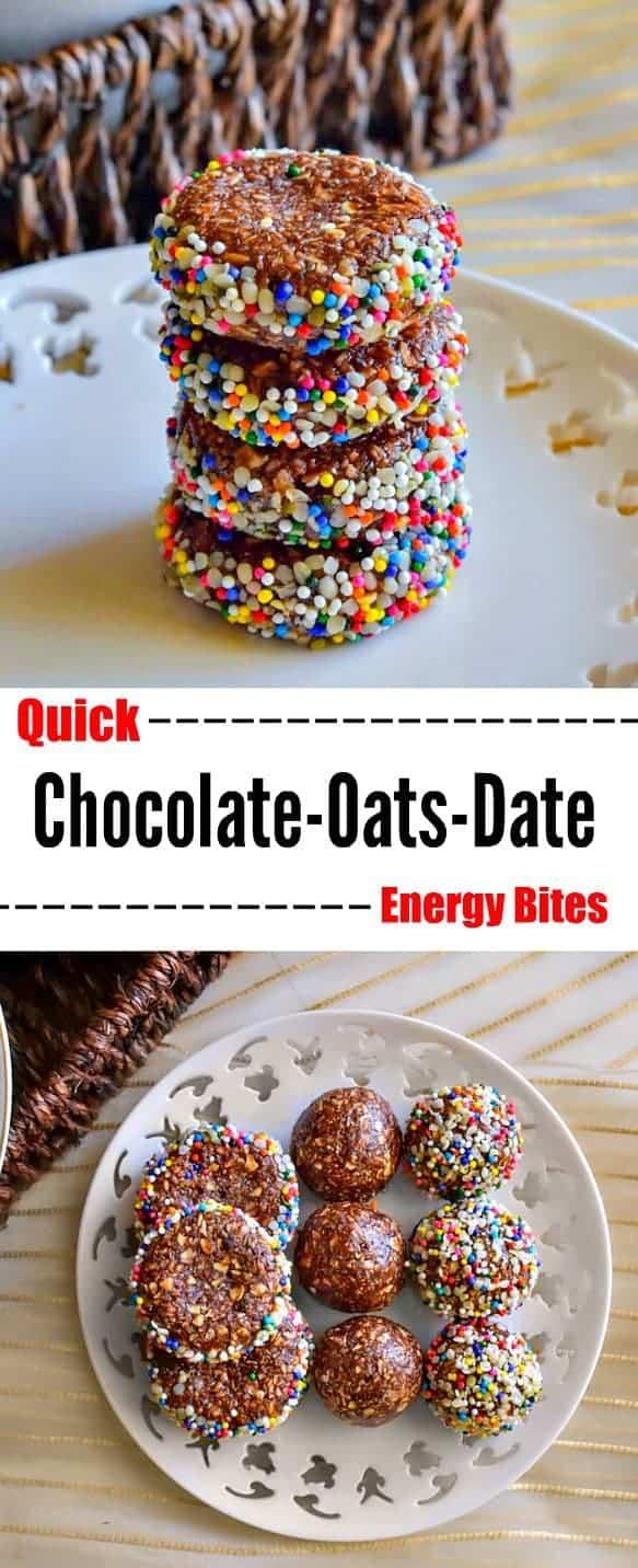 Quick Chocolate Oats Date Energy Bites: #energy #breakfast #snack #date #chocolate