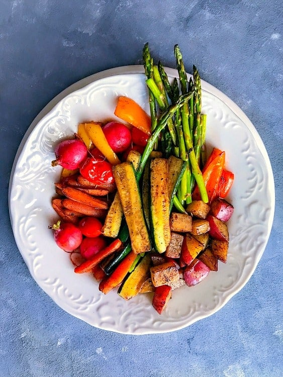 Pan Roasted Winter Vegetable on a white plate