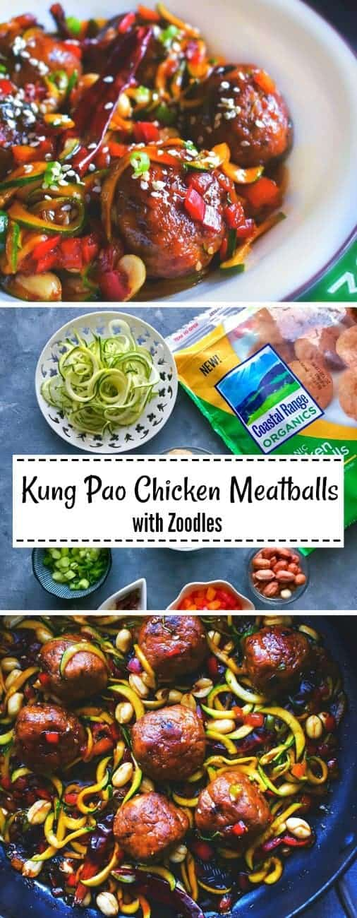 Kung Pan Chicken Meatballs with Zoodles: #kung #pao #meatballs #zoodles #CoastalRangeOrganics #ad