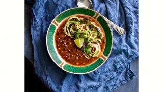 Instant Pot Vegetarian Chipotle Lentil Zoodle Soup