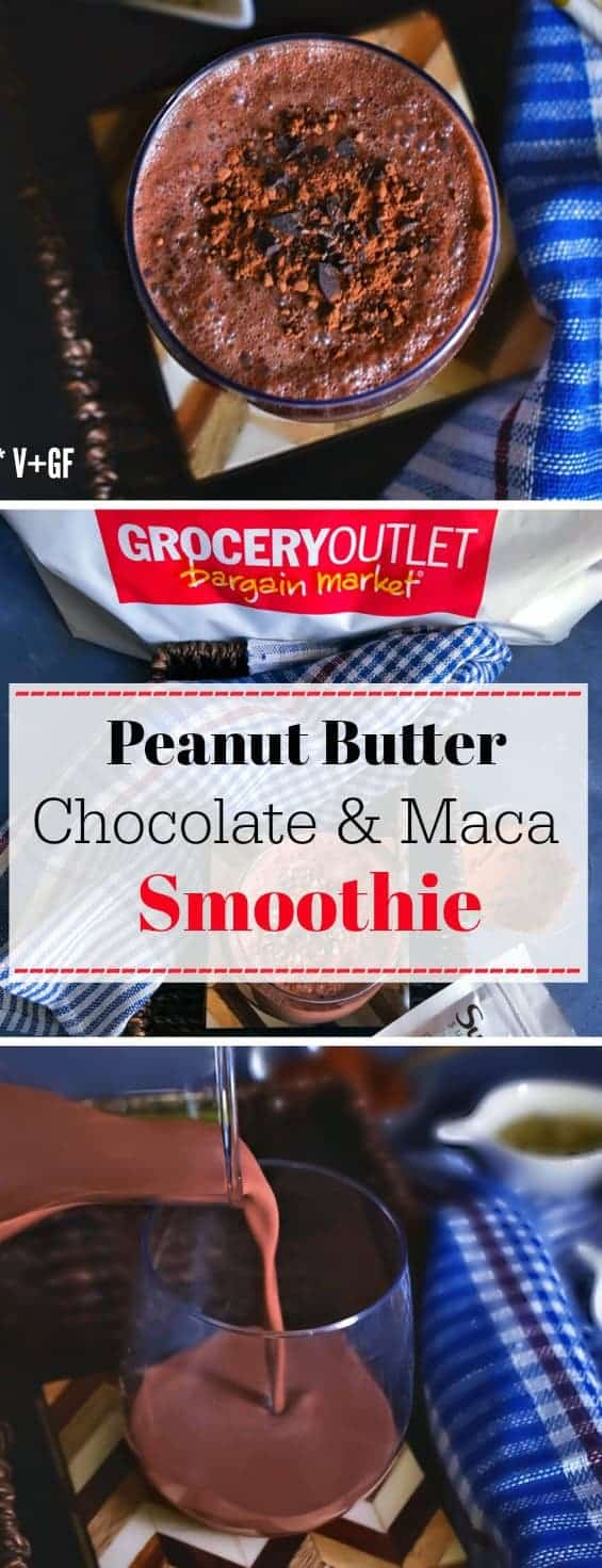 Peanut Butter Chocolate Maca Smoothie: #peanutbutter #chocolate #smoothie #maca #GroceryOutlet #ad