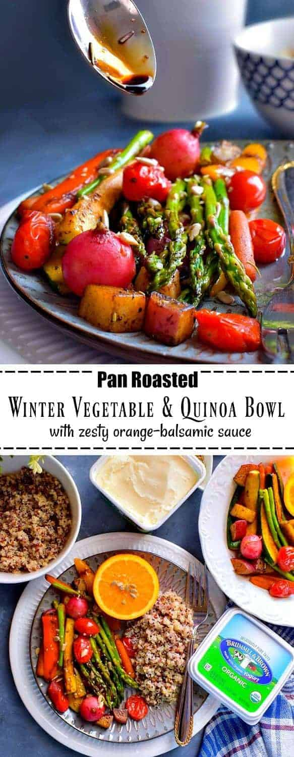 Pan Roasted Winter Vegetable and Quinoa Bowl: #ad #pan #roasted #glutenfree #vegetables #healthy @brummelandbrown #brummelandbrown