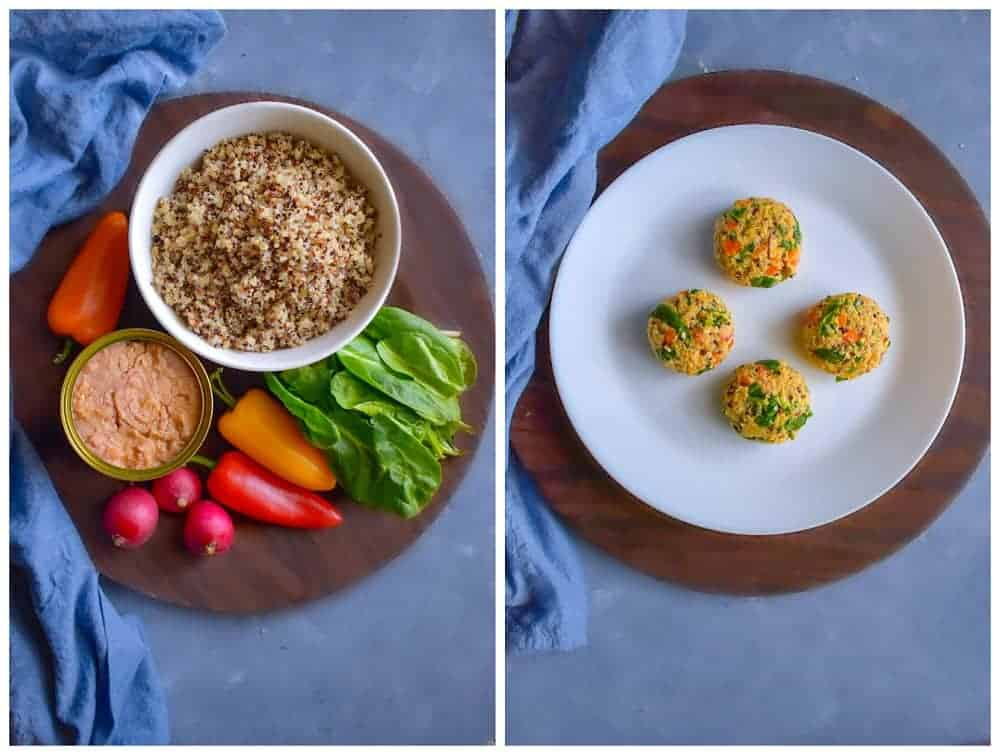 Curried Tuna Quinoa Patties ingredients on a brown plate