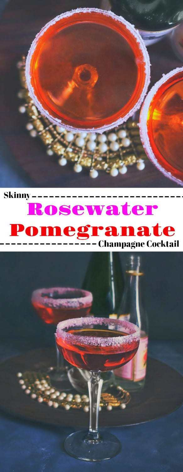 Skinny Rosewater Pomegranate Champagne Cocktail: Perfect for date night #cocktail #datenight #pomegranate #rosewater #champagne #cocktail #valentines