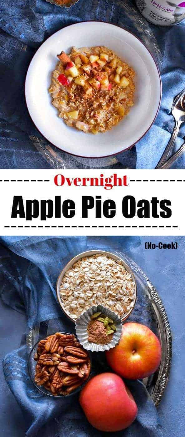 Overnight Apple Pie Oats: #overnightoats #applepie #oatmeal no cook meals #ad #LeftFieldFarms @LeftFieldFarms
