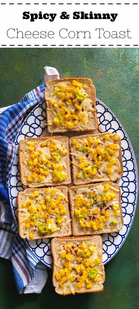 Spicy and Skinny Cheese Corn Toast: #cheese #corn #toast #recipe #skinny #breakfast
