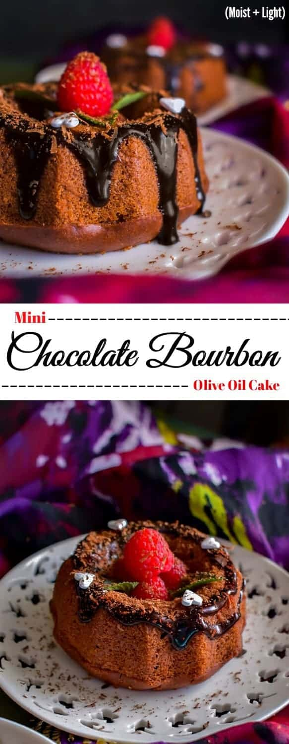 Mini Chocolate Bourbon Olive Oil Cake: #chocolate #cake #bourbon #bundt #valentines
