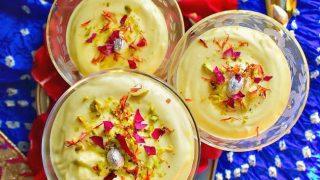 Instant Thandai Shrikhand Mousse - Indian Yogurt Mousse