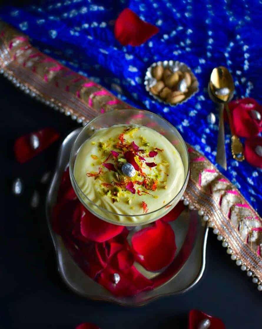 Instant Thandai Shrikhand Mousse made using yogurt