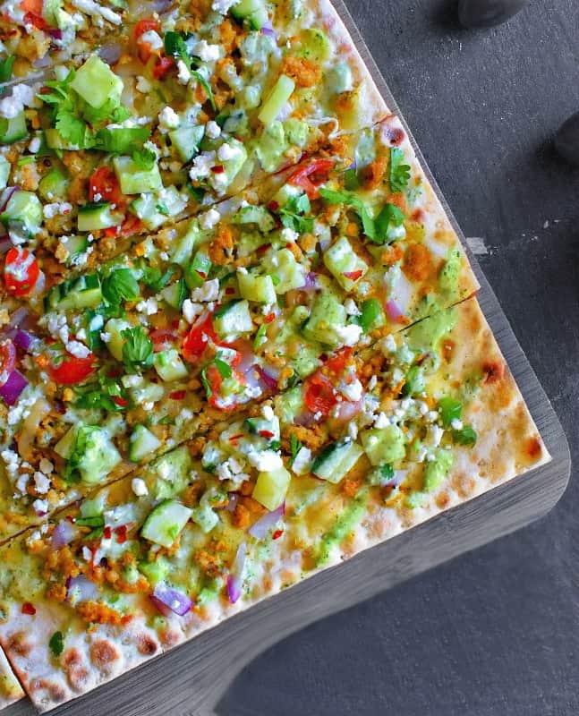 Greek Lamb Mince Flatbread Pizza