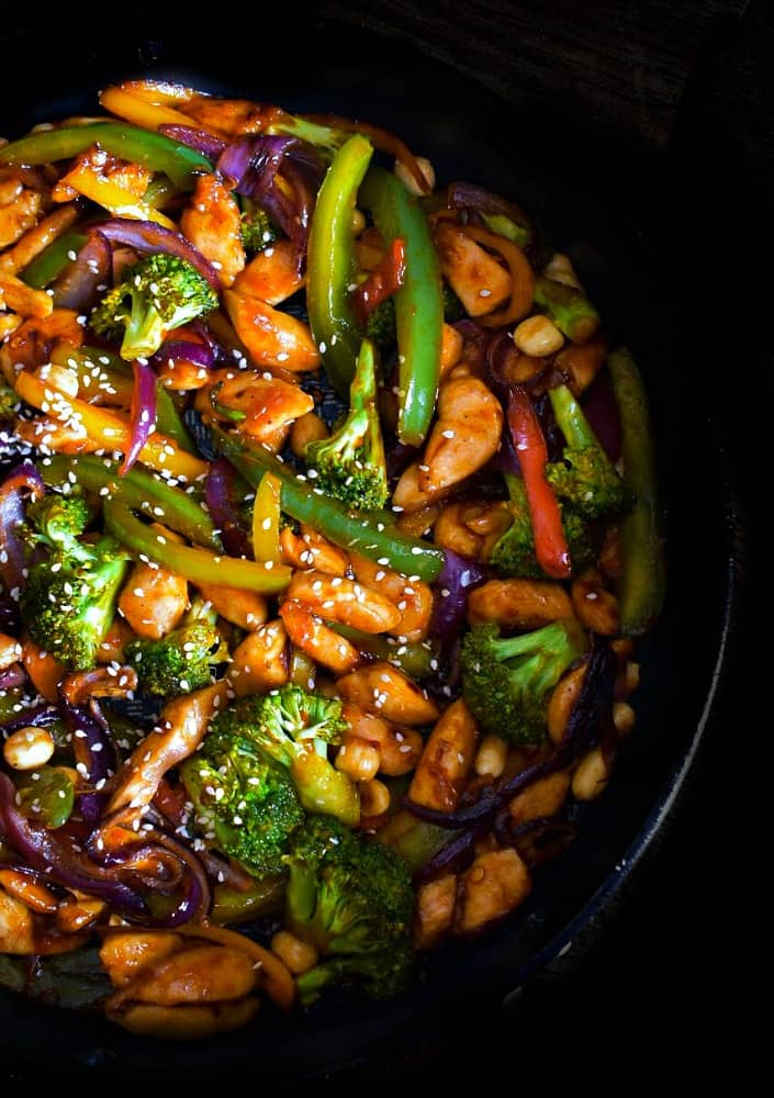 Healthy Sesame Chicken Recipe in a large pot with veggies