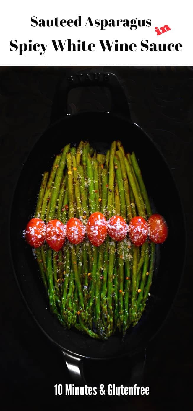Sauteed Asparagus in Spicy White Wine Sauce: #asparagus #whitewine #lemon #spicy #vacuvita #ad