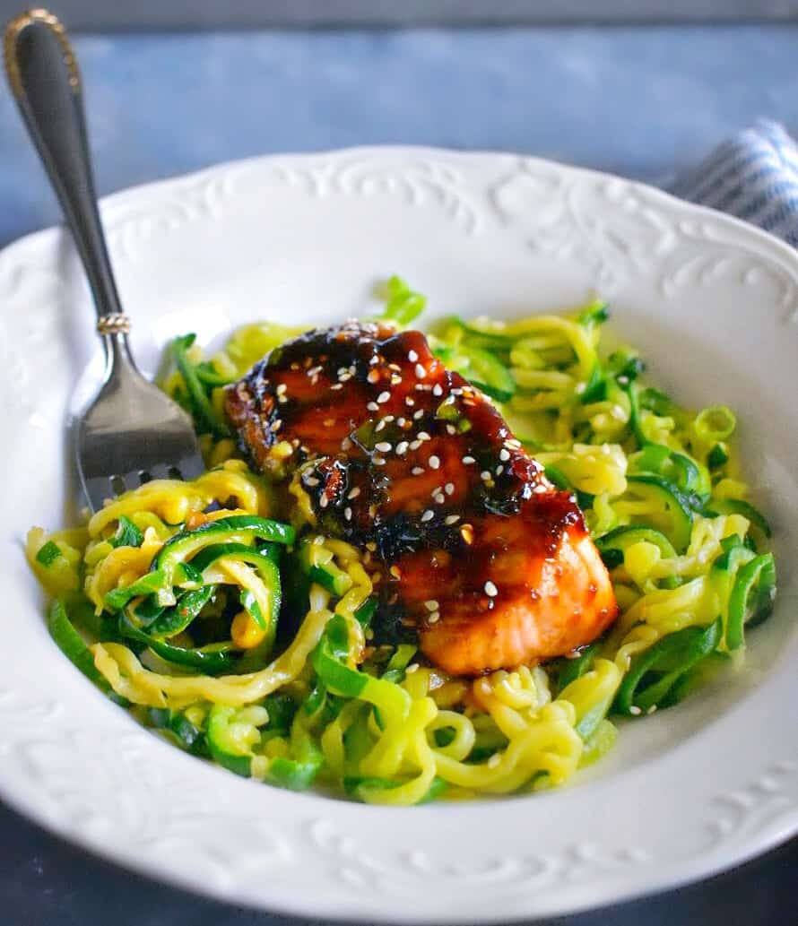 sweet spicy teriyaki salmon with zoodles