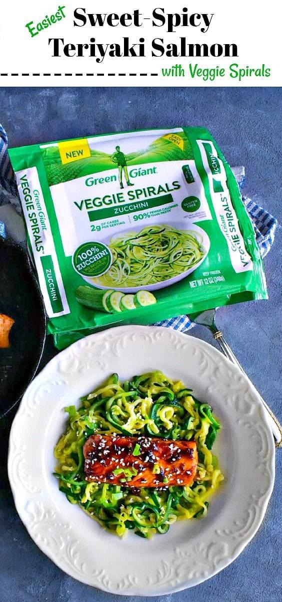 Easiest Sweet Spicy Teriyaki Salmon with Veggie Spiral: #teriyaki #salmon #zoodles #VeggieSwapIns #IC #ad @greengiant @Walmart