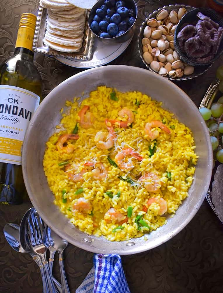saffron shrimp risotto in a pan