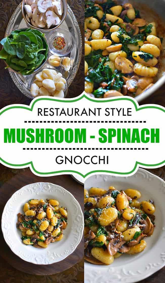 Mushroom Spinach Gnocchi Recipe #gnocchi #mushroom
