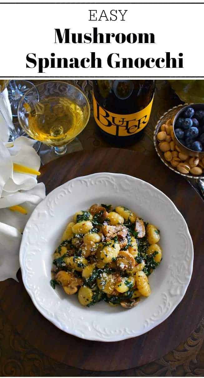 Easy Mushroom Spinach Gnocchi: #mushroom #gnocchi #mothersday #SpreadTheLove #JaMPartner #ButterChardonnay @JaMCellars