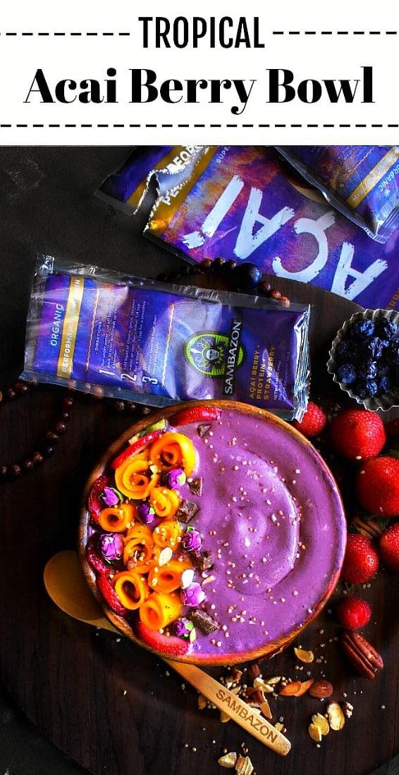 Tropical Acai Berry Bowl: #tropical #acai #smoothie #bowl #sambazon @Sambazon #sambazon #acai #deliciousandpurposeful