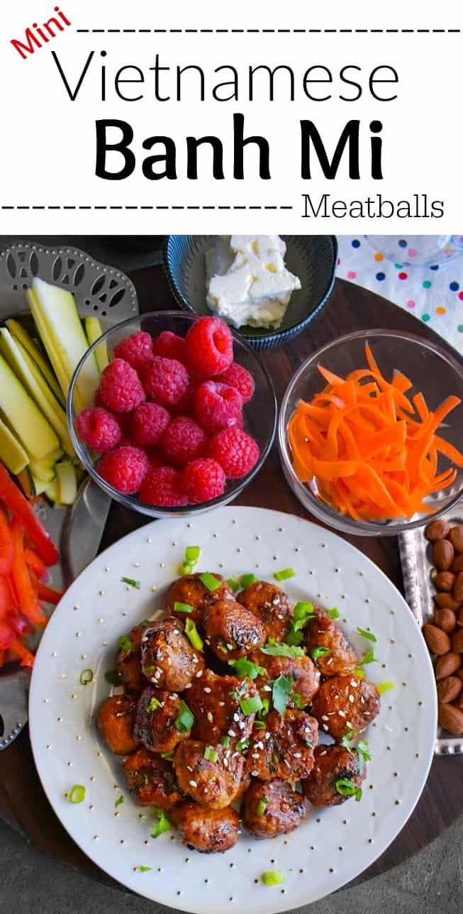 Mini Vietnamese Banh Mi Meatballs: #banhmi #meatballs #chicken #snack #SeedOfAGreatSummer #ad