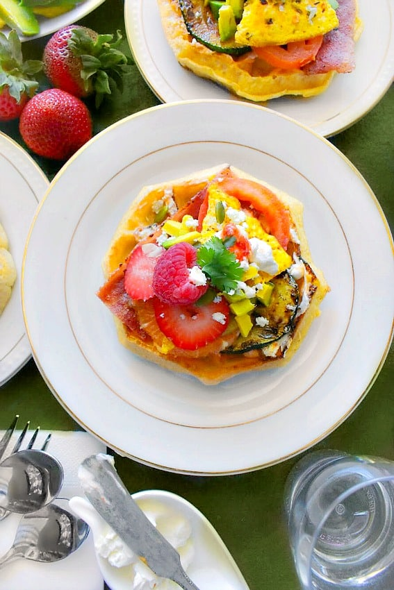 Best Ever Summer Waffle Sandwich with eggs, zucchini, strawberries, etc