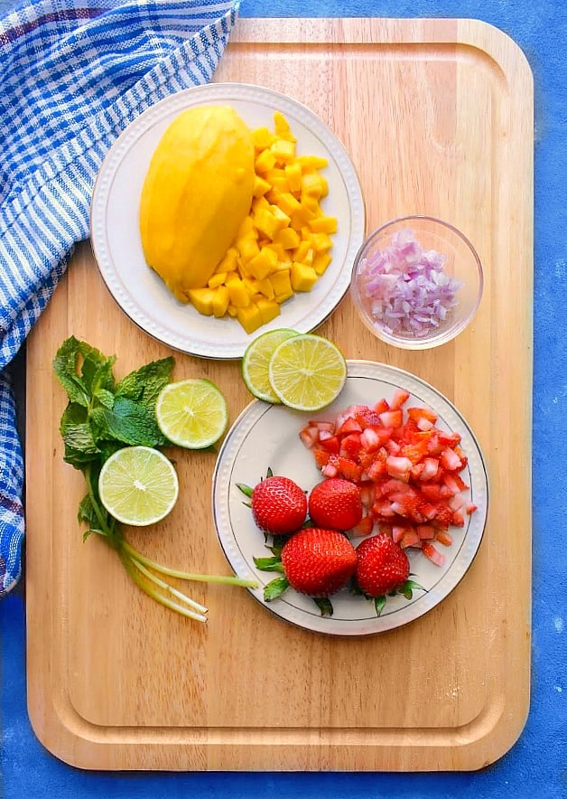 Ingredients for the Mango Strawberry Fruit Salsa