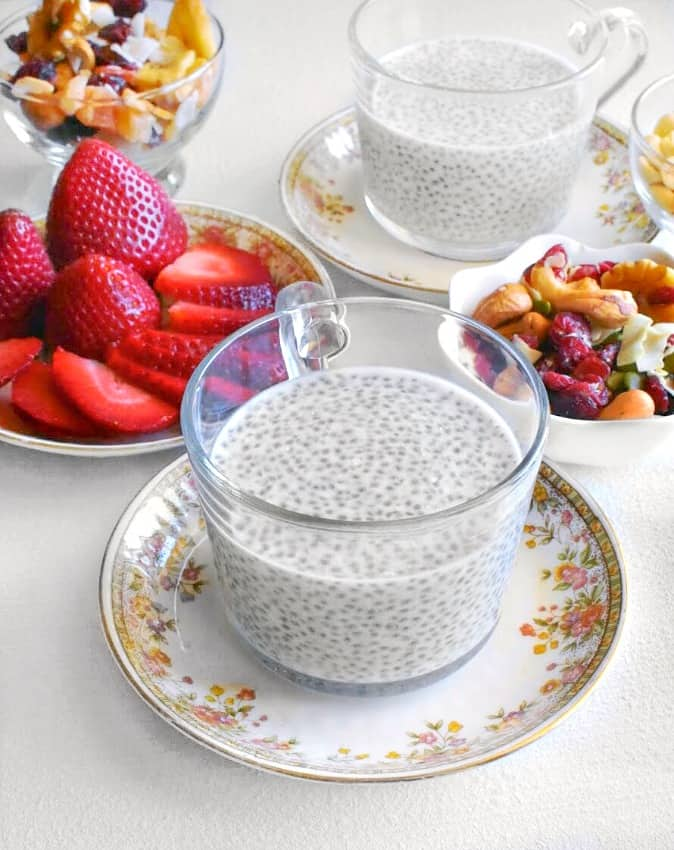 coconut chia pudding in a teacup
