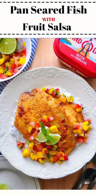 Pan Seared Fish with Fruit Salsa: #fish #panseared #seafood #brunch #JuneDairyMonth #JuneDairyMonthBlog #ad @landolakesktchn