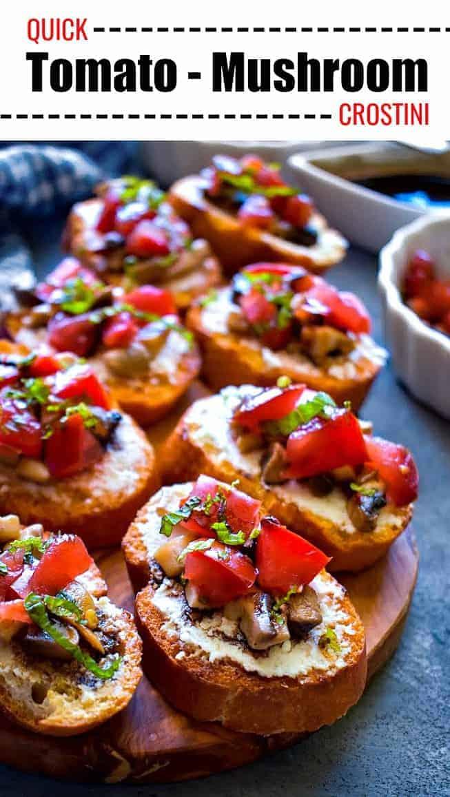 Quick Tomato Mushroom Crostini: #mushroom #crostini #bruschetta #italianfood #ADeepershadeofdelicious #ad