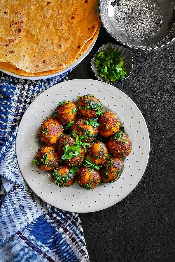 Spicy Indian Potatoes with Cilantro also called Dhaniya Wale Aloo