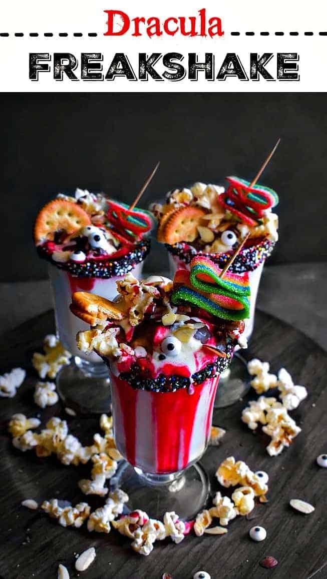 Dracula Freakshake: #freakshake #icecream #milkshakes #kidsmenu #Pop4HT3 #Pmedia #ad @