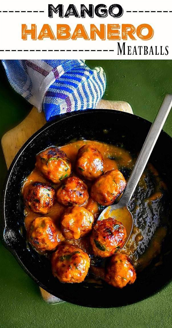 Quick Mango Habanero Meatballs: #meatballs #mango #habanero #pork