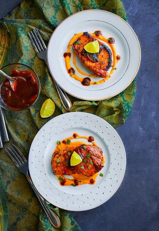 Peach Ginger Glazed Pork Chops recipe
