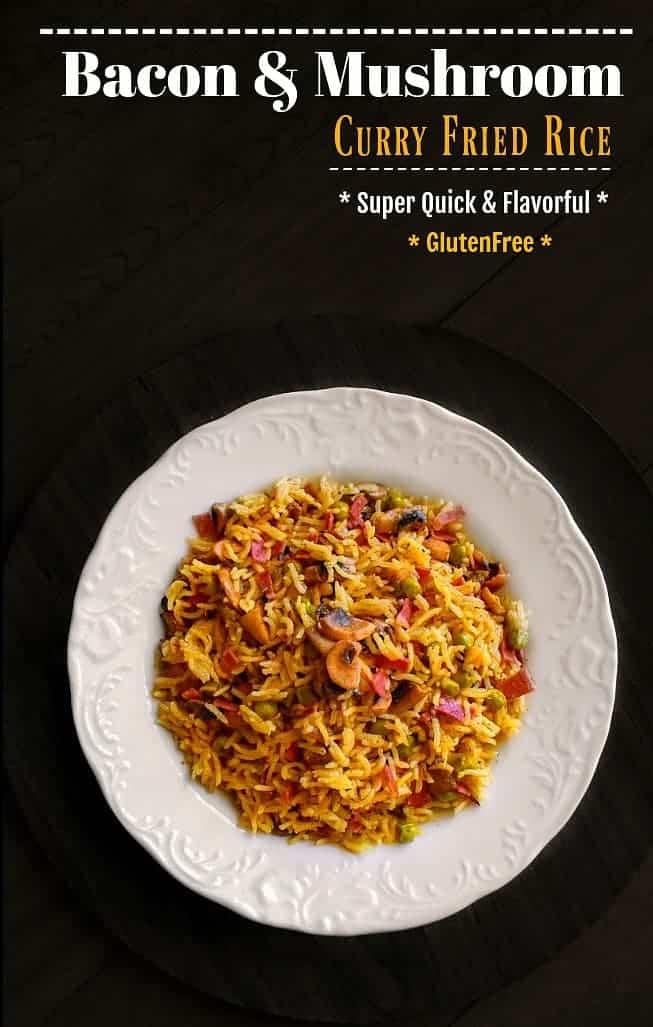 Bacon and Mushroom Curry Fried Rice: #bacon #fried #rice #mushroom #curry