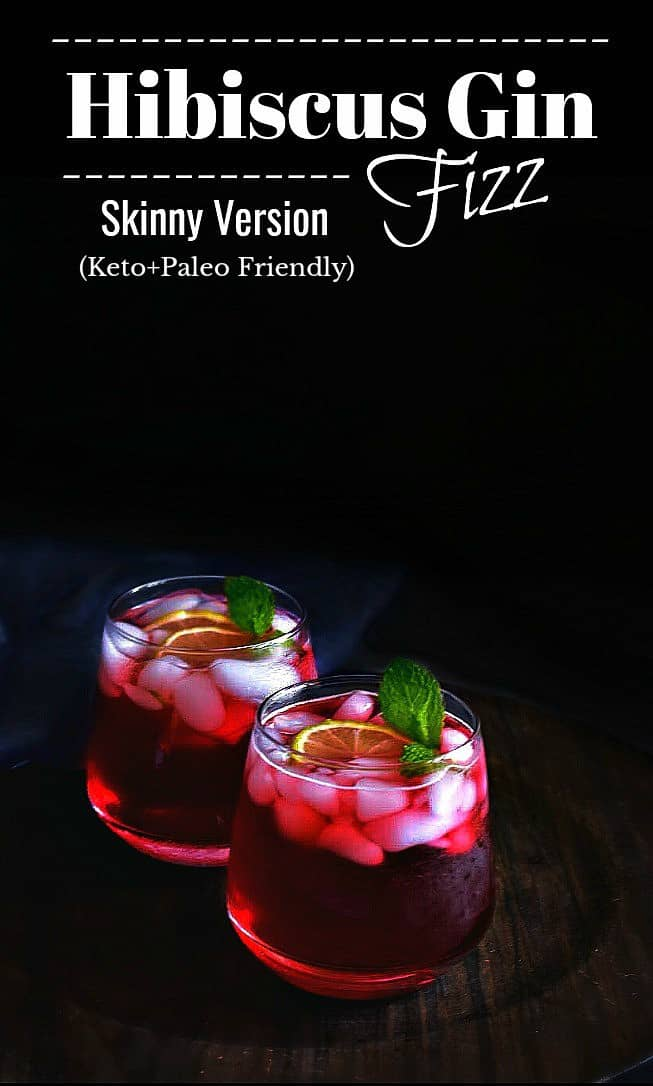 Hibiscus Gin Fizz Recipe: #hibiscus #gin #fizz #keto #cocktail #paleo #lowcarb #sugarfree