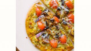 Quick Pesto Mushroom Flatbread Pizza