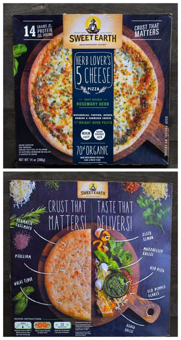 sweet earth5 cheese pizza review