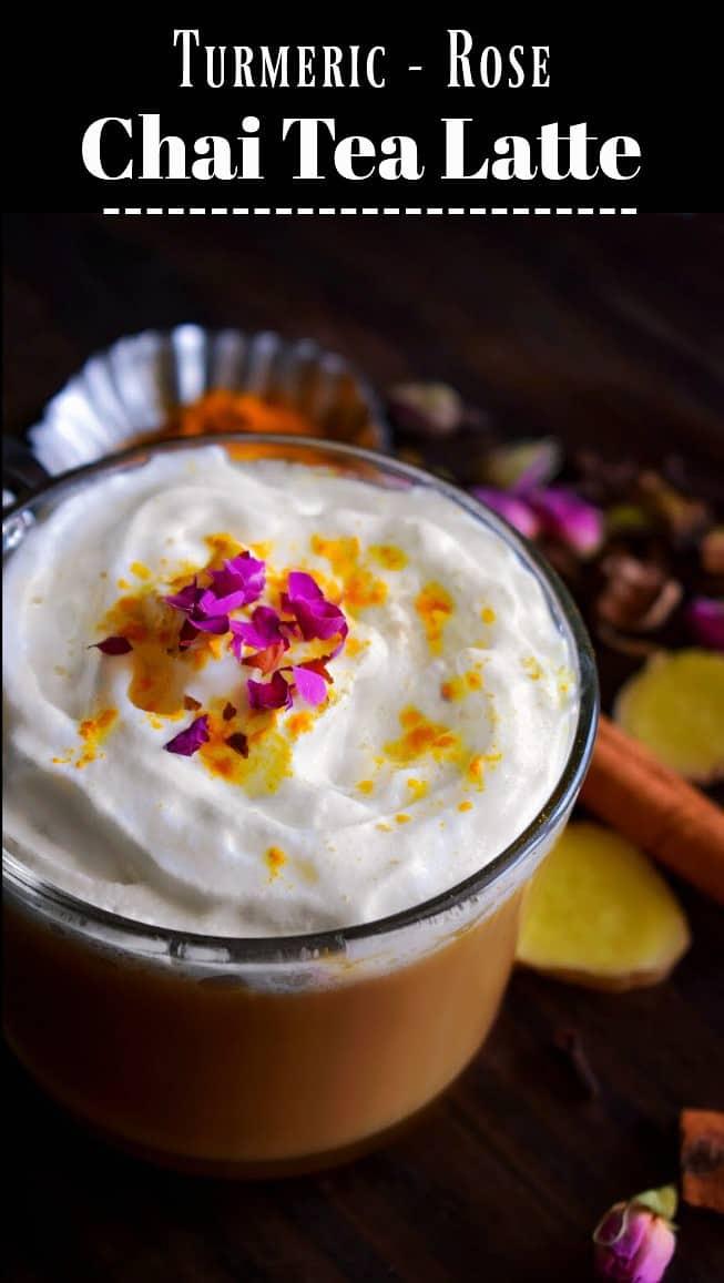 Turmeric Rose Chai Tea Latte: #chaitea #latte #turmeric #rose