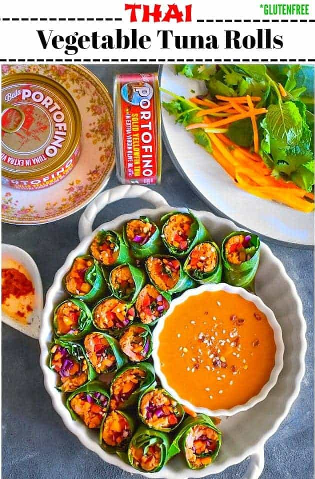 Thai Vegetable Tuna Rolls: #thai #tuna #vegetable #rolls #appetizer