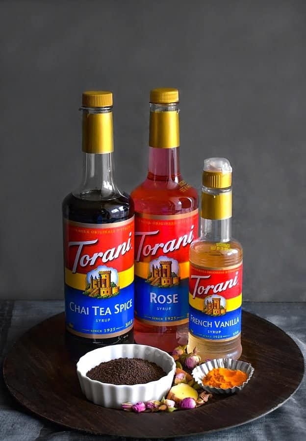 Turmeric-Rose Chai Tea Latte ingredients