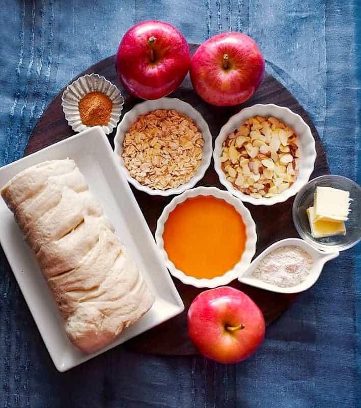 Breakfast Apple Crostata Recipe Ingredients in a large plate