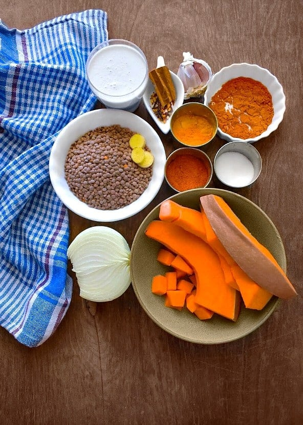 Lentil Butternut Squash Curry Ingredients