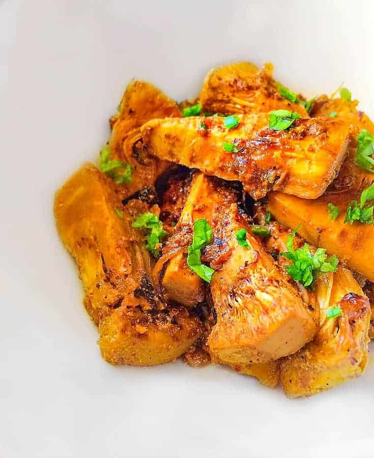 canned jackfruit recipe using Indian spices and yogurt