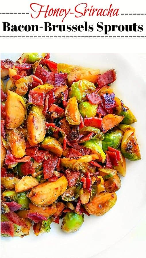 Quick Honey Sriracha Bacon Brussels Sprouts: #thanksgiving #brusselssprouts #bacon