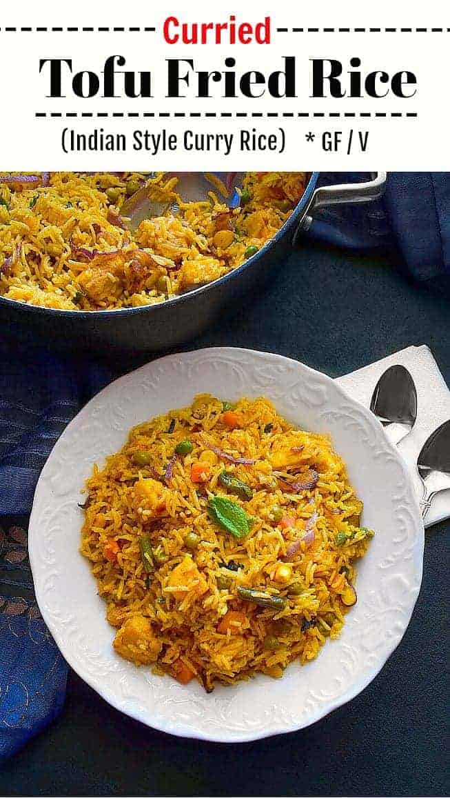 Curried Tofu Fried Rice: #curry #tofu #friedrice #indian