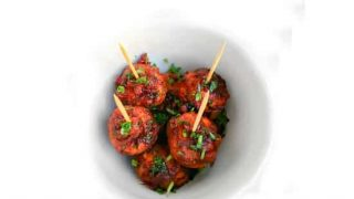 Turkey Cranberry Bourbon Meatballs - #Thanksgiving Appetizer
