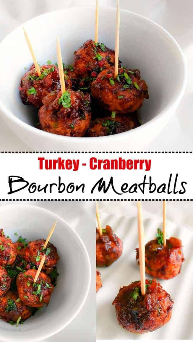 Turkey Cranberry Bourbon Meatballs: #meatballs #thanksgiving #turkey #cocktail #appetizer