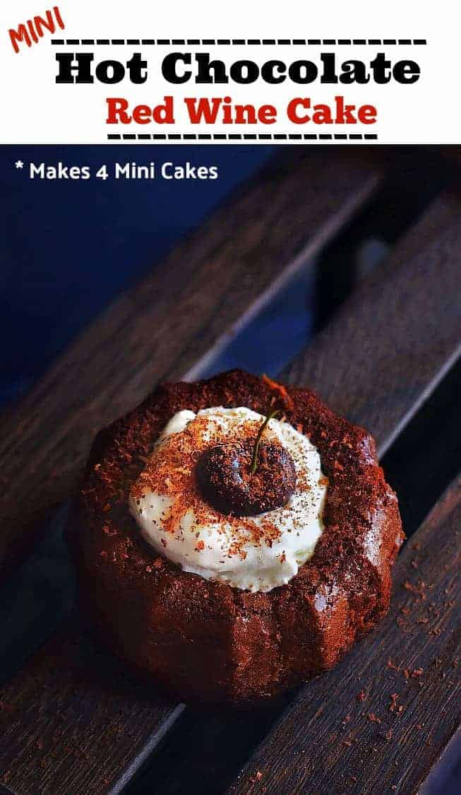 Mini Hot Chocolate Red Wine Cake: #hotchocolate #redwine #wine #cake #bundt