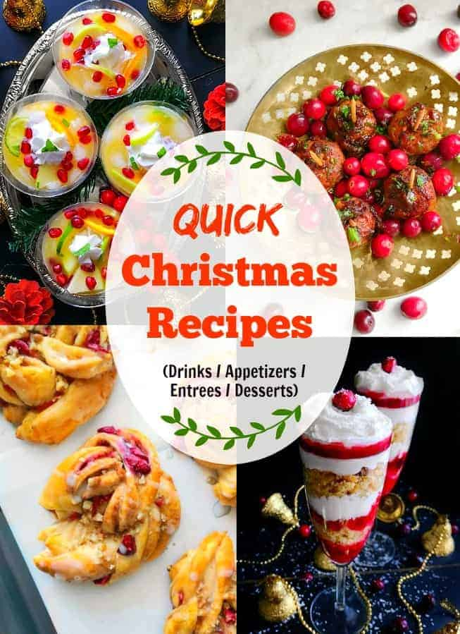 Quick Christmas Recipes: Choose from drinks, appetizer, entree, dessert. #christmasrecipes #christmas #cranberry #christmasmocktail #christmascake