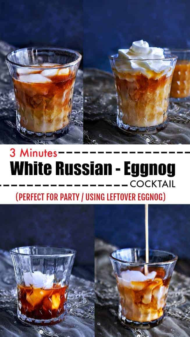 3 Minutes White Russian Eggnog Cocktail: #eggnog #whiterussian #cocktail #christmasrecipes #boozy #vodka