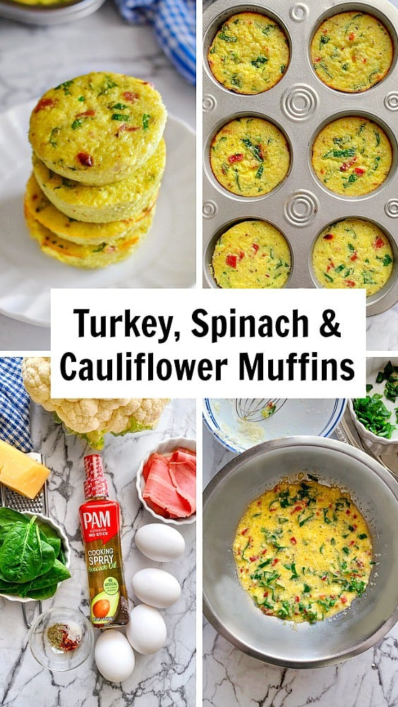 Turkey Spinach and Cauliflower Muffins: #cauliflower #breakfastmuffins #sousvide #copycat #PAMAvocadoPump #ad